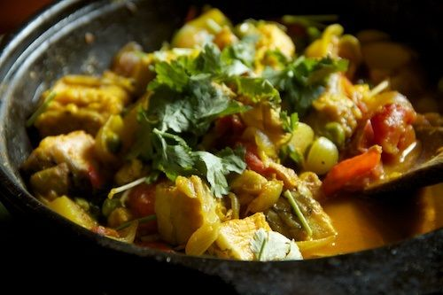 NGA ATOIBA THONGBA - This is a hot pasty fish curry preparation where the delectable fish stew is cooked with boiled potatoes, fresh bay leaves, onion, cumin, chillies and chives. The fish in the stew gradually softens and all the wonderful flavours mix with the dish. Manipur, India