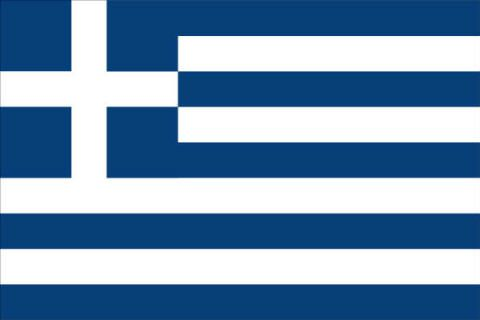 Greece Flag = The flag of Greece consists of nine equal horizontal stripes of blue alternating with white; there is a blue square in the upper hoist-side corner bearing a white cross; the cross symbolizes Greek Orthodoxy, the established religion of the country.