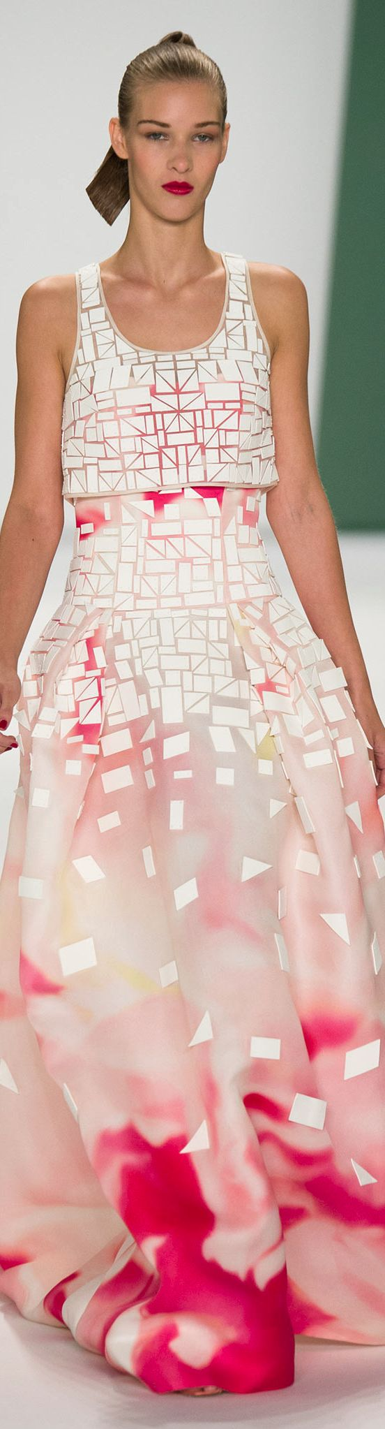 The mix of harsh geometric shapes and the soft, floral print is really interesting to me. Exciting graphic! I mean, I don't really like the dress design, but I think it could work better on me as a blouse or skirt.