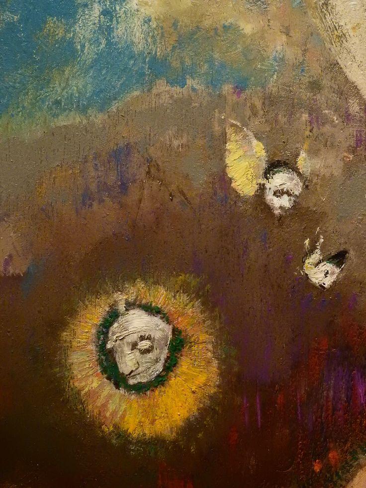 """REDON Odilon,1895-1900 - Le Sommeil de Caliban (Orsay) - Detail 019  -  TAGS/ art painter peintre details détail détails detalles painting paintings  peintures  """"peintures 19e"""" """"19th-century paintings"""" Museum Paris France sleep endormi asleep symbolism symbolisme """"ciel bleu"""" """"blue sky"""" pink rose cloud flowers visage portrait face model """"naked man"""" naked nude bare man flowers fleurs soleil sun """"poisson volant"""" """"flying fish"""" """"visage ailé"""" """"winged face"""" wings arbre tree wood bois"""