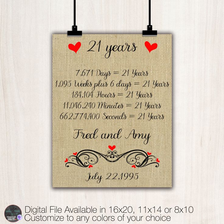 Gifts For 21st Wedding Anniversary: Years Together Anniversary Gift, 21st Anniversary Gift