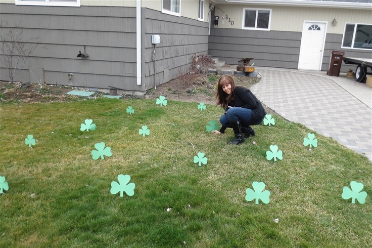"""St. Patrick's Day Visiting Teaching!  Sham-ROCK the ladies you visit.  Put shamrocks in their yard that have been taped to plastic forks.  Put a note on the door that says """"You have been sham-'ROCK'-ed because we think you 'ROCK'!""""  Leave them a shamrock cookie in a bag by the door, then knock and RUN!  So much fun!"""