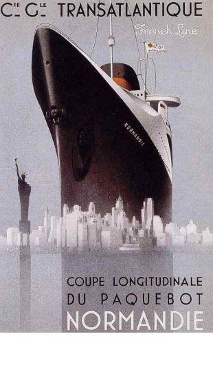 Transatlantic Service - SS Normandie - French Line - Vintage Travel Poster