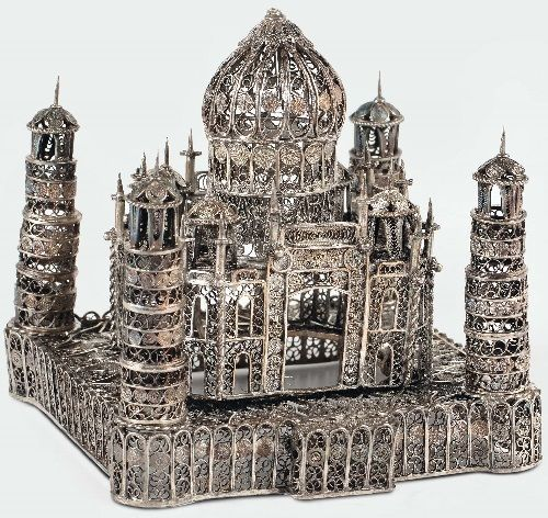 Silver filigree art Taj Mahal model, India 19-20 th century