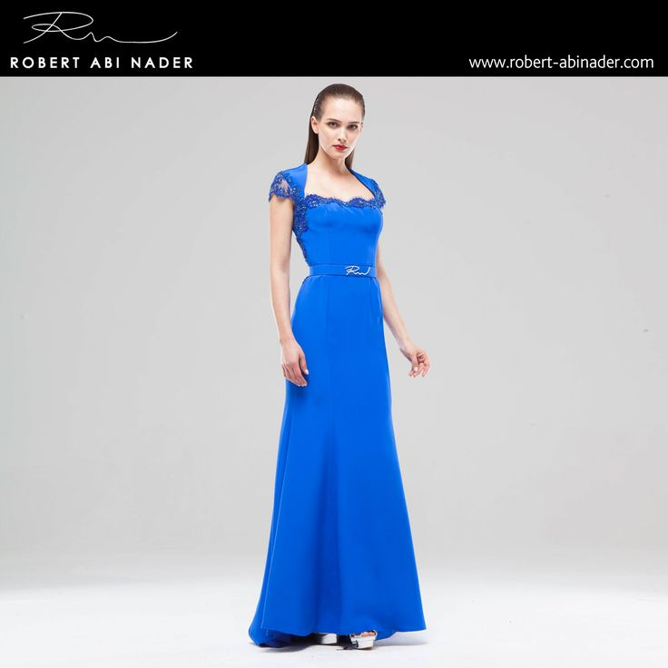 Robert Abi Nader - Ready to Wear - Spring Summer 2015 Long and belted flared dress in royal blue Moroccan crepe and lace trimmings. #robertabinader #blue #fashion #lebanon #style #model #heels #fashionista #paris #london #girls #design #attitude #stylish #love #TagsForLikes #todayimwearing #instastyle #robert #abinader #spring #summer #moroccan #roaylblue #crepe #lace #dress