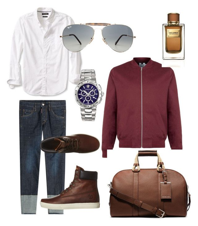 """""""Untitled #6"""" by zuxrav on Polyvore featuring Dsquared2, Banana Republic, Topman, Timberland, Ray-Ban, Dolce&Gabbana, Michael Kors, Versace, mens and men"""