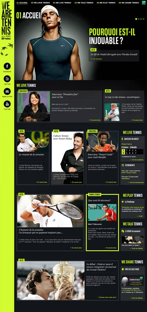 #houseofwebsites | We Are Tennis Site by Sylvain Weiss. Just like the side bar social media navigation.