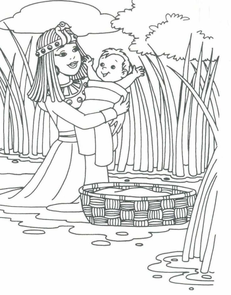 70 best moses baby images on pinterest for Moses coloring pages