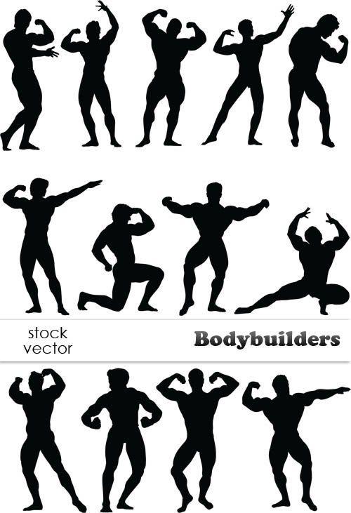 Культуристы - силуэты мужчин вектор. Bodybuilders