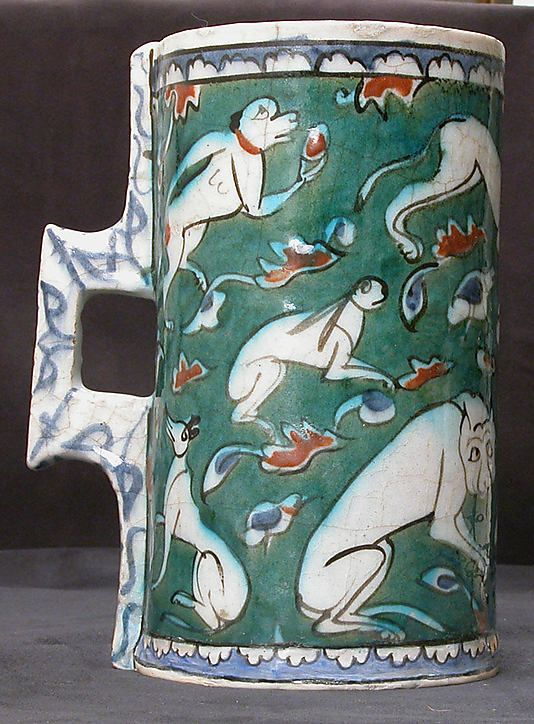 Tankard in imitation of metalwork form | Iznik, Turkey, last quarter 16th century | Stonepaste; polychrome painted under a transparent glaze | The Metropolitan Museum of Art, New York