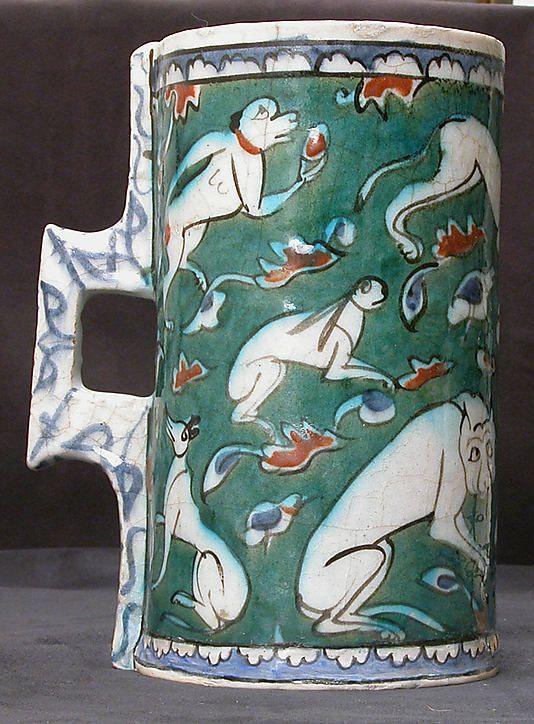 Tankard in imitation of metalwork form   Iznik, Turkey, last quarter 16th century   Stonepaste; polychrome painted under a transparent glaze   The Metropolitan Museum of Art, New York