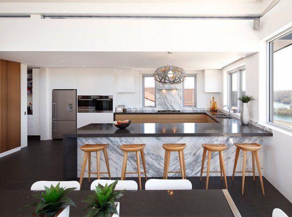 Modern Minimalist U Shaped Kitchen Design Ideas Black White Kitchen Interior Part 96
