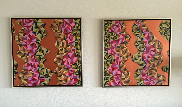 """I finished my new paintings today !!  Titel """"Organic I & II""""  Acrylic Colors  Both Pics are 80 x 80 cm."""