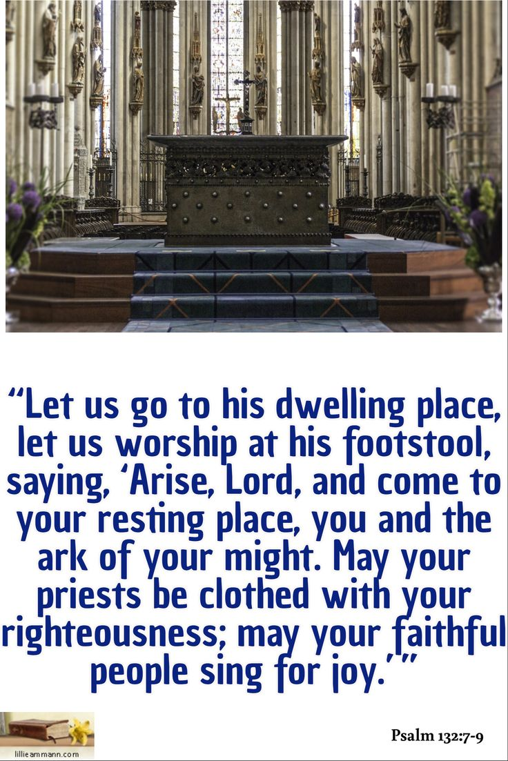 """""""Let us go to his dwelling place, let us worship at his footstool, saying, 'Arise, Lord, and come to your resting place, you and the ark of your might. May your priests be clothed with your righteousness; may your faithful people sing for joy.'"""" / Psalm 132:7-9"""