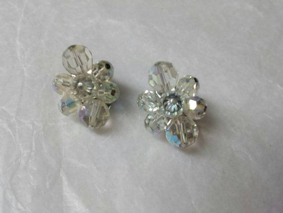 Sherman Signed Austrian Crystal Clusters  Silver Tone Clip earrings