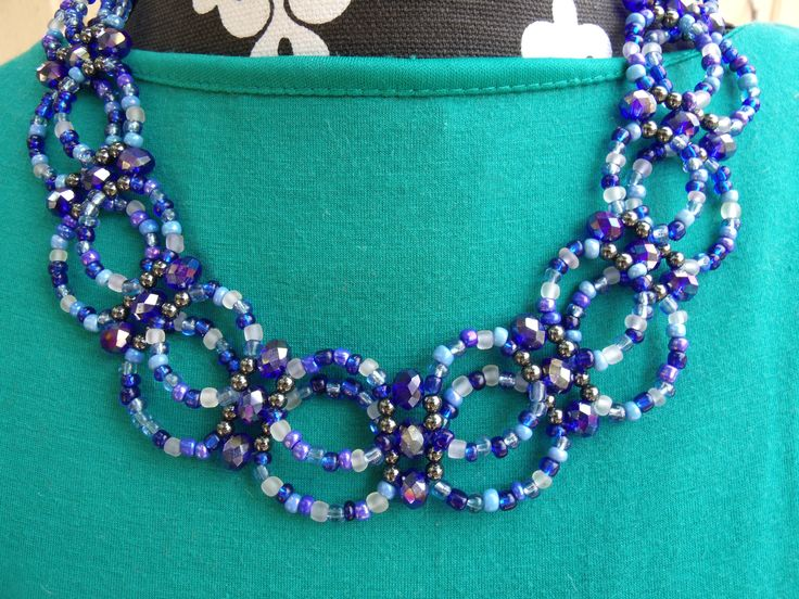 weaved collar blue necklace with crystal highlights.  Meandjpsjewelry@etsy.com