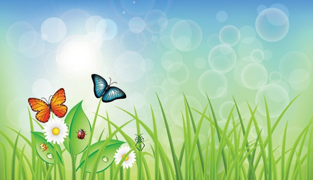 Spring Background Vector with Grass & Butterflies