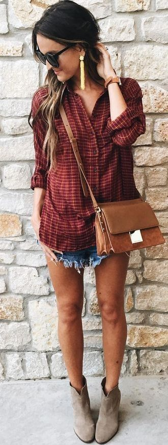 #summer #lovely #fashion | Oversized Check Shirt + Cut Offs