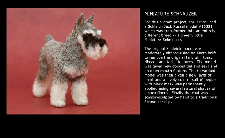 Paizley Pawz transformed a plastic Jack Russell into this flocked Miniature Schnauzer