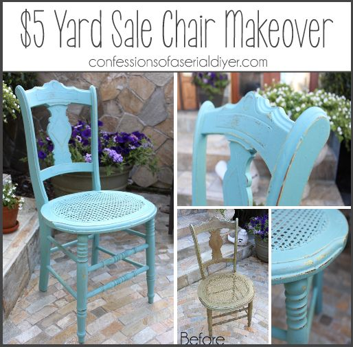 Yard sale chair makeover in ascp provence popular pins for Furniture yard sale
