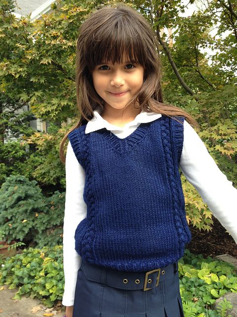 Free knitting pattern for 6-Stitch Plait Unisex Vest For Kids pattern by Ratchadawan Chambers - V-neck Unisex vest for children age 4-8 (approximately). that features a six stitch plait cable.