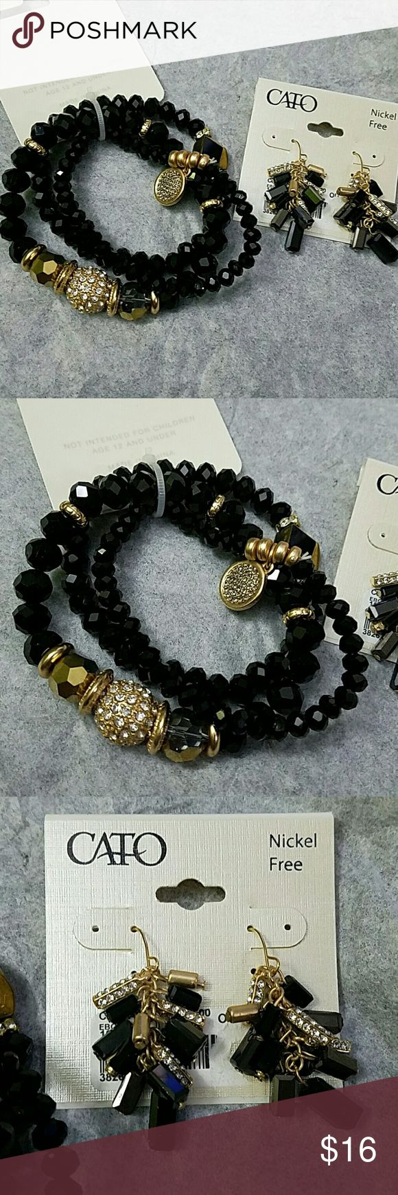 Bracelet and Earrings Matching Set Was for Prom... she changed her mind!!  Mommy is stuck.  Just hoping to get money back because we lost receipt.  Black with gokd and sparkle.  Very pretty.  Firm on price please. Cato Jewelry