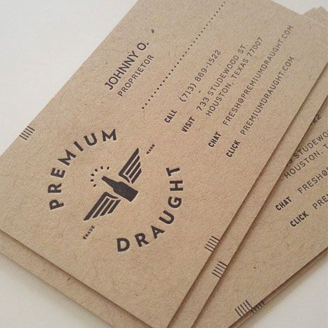 Premium Draught business cards designed by Always Creative.