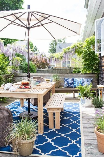 Our Deck Refresh with tips on how to build your own outdoor dining table.  {Finding Silver Pennies}