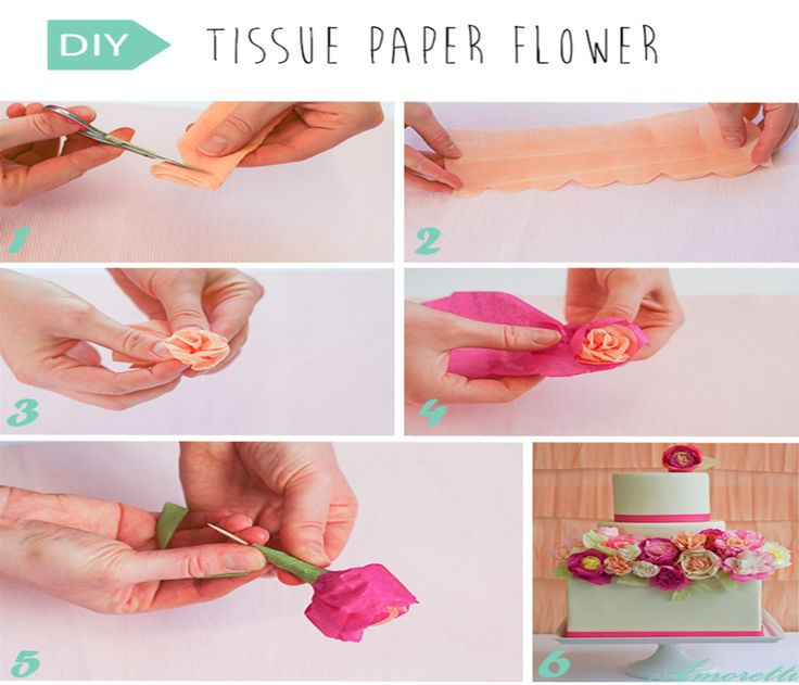 DIY: Tissue Flower Paper   You will need… Crepe and/or tissue paper in the color palette of your choice Toothpicks (or skewers) Scissors Floral tape  #DIY #wedding #cake #decoration #flowers