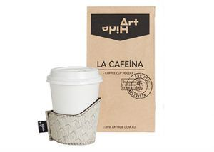 LA CAFEINA - ZENDA GREY Coffee lovers everywhere will love Art Hide's new Cafeína cowhide coffee cup holders. Designed for take away coffee, the Cafeína not only looks super stylish, but also keeps coffee warmer for longer and ensures you don't burn your hands! The Cafeína is available in a range of gorgeous Art Hide signature leathers and comes packaged in a rustic coffee bean style paper bag