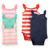 Polka dots, bold stripes and ruffle straps make these tank top bodysuits super cute for any occasion.<br>