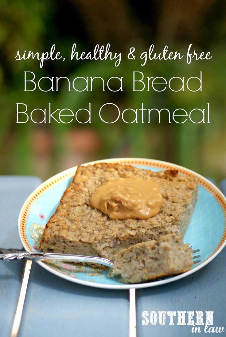 Gezonde Brood van de Banaan Gebakken Havermout Recept - laag vet, suiker, glutenvrij, schoon eten
