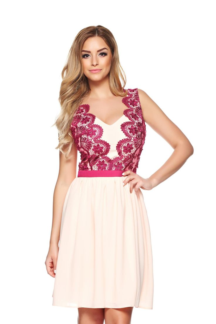 """LaDonna Prettiness Peach Dress, """"V"""" cleavage, embroidery details, back zipper fastening, inside lining, voile fabric, slightly elastic fabric"""