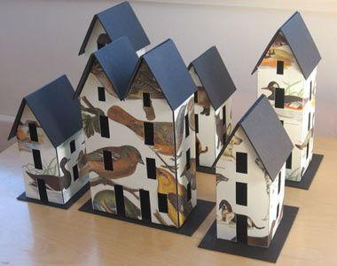 Italian Decoupage Houses, cardboard & paper  ♥