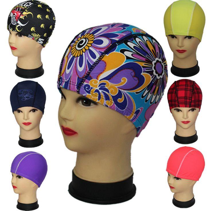 Hot Sales Promotion Cheap Random Solid Color Print Unisex Nylon Lycra Composition Fabric swimming cap bathing cap