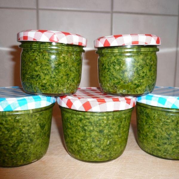 Rezept für Bärlauch-Basilikum Pesto