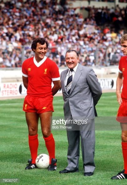 Sport Football Charity Shield Wembley London England 9th August 1980 Liverpool 1 v West Ham United 0 Liverpool's Ray Kennedy stands with his Manager Bob Paisley