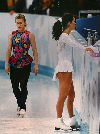 01/06/94 - Tonya Harding hired someone to attack Nancy Kerrigan during a practice session for the 1994 U.S. Championships.  The man hit Kerrigan's thigh with a police baton and she had to withdraw from the competition.  Harding won that event.  They were both selected for the 1994 Olympics.  Harding finished 8th while Kerrigan won the Silver medal.  Harding is the only person to ever be banned for life from figure skating.