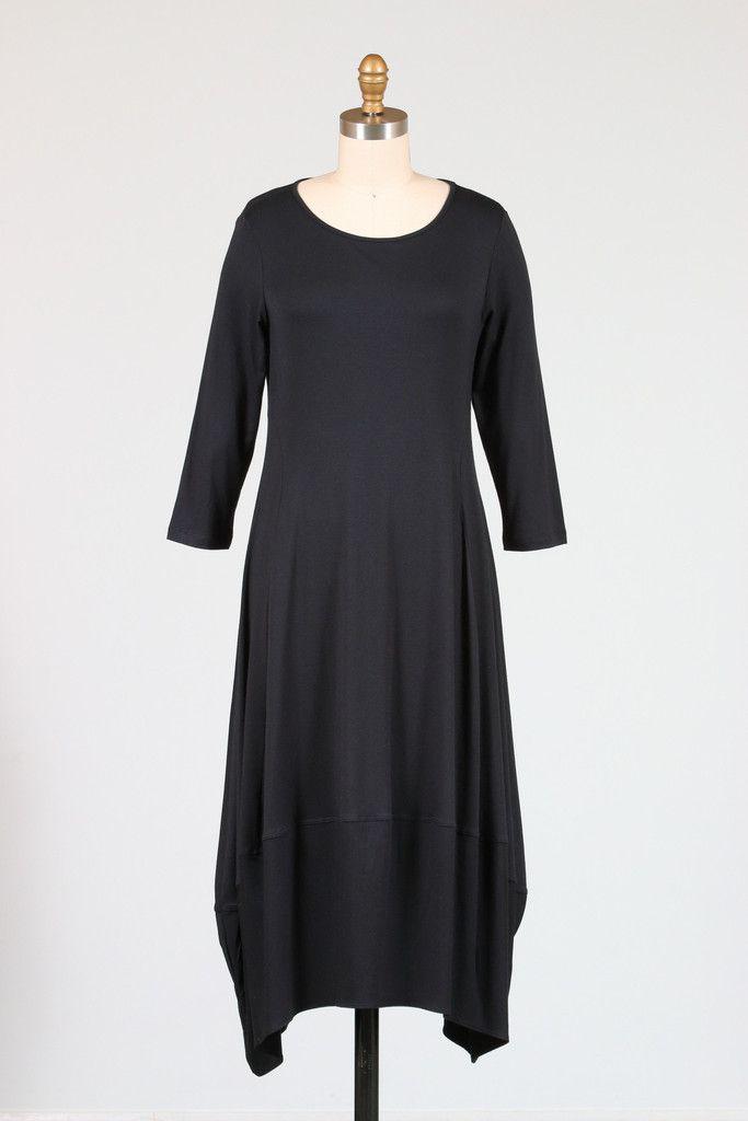 Comfy USA Kati Dress, Black and Multiple Prints