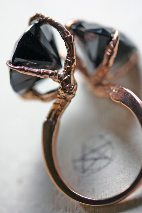"""Conjoined sparrow claw ring. I need to wear this and then cryptically recite Poe's """"The Raven"""" whenever somebody notices it."""