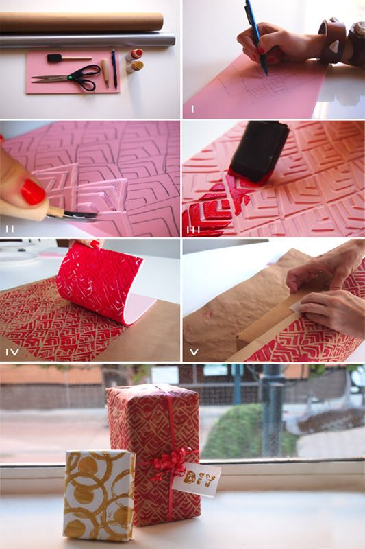 """.:* L - DIY Holiday Wrapping Paper by Because I'm Addicted [""""You will need: Speedball carving tool; Rubber block stamp; Paint or ink; Brush; Solid color wrapping paper; Pencil; Gift""""]"""
