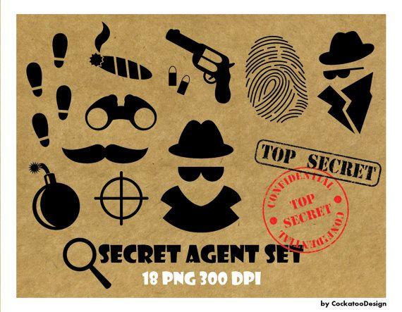 50% OFF SALE, Spy clipart, spy party, secret agent clipart, party printables, top secret stamp, fingerprint clipart, bomb, commercial use