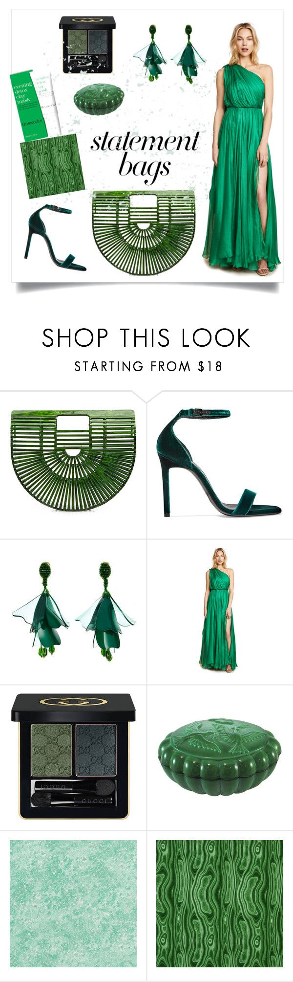 """malachite"" by greensparkle1 ❤ liked on Polyvore featuring Cult Gaia, Yves Saint Laurent, Oscar de la Renta, Maria Lucia Hohan, Gucci, Designers Guild, Robert Allen and This Works"