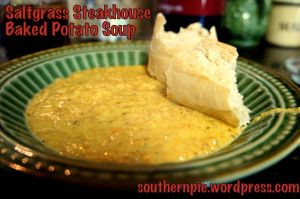 "Saltgrass Steakhouse Baked Potato Soup Recipe: from ""Slice of Southern Pie""."