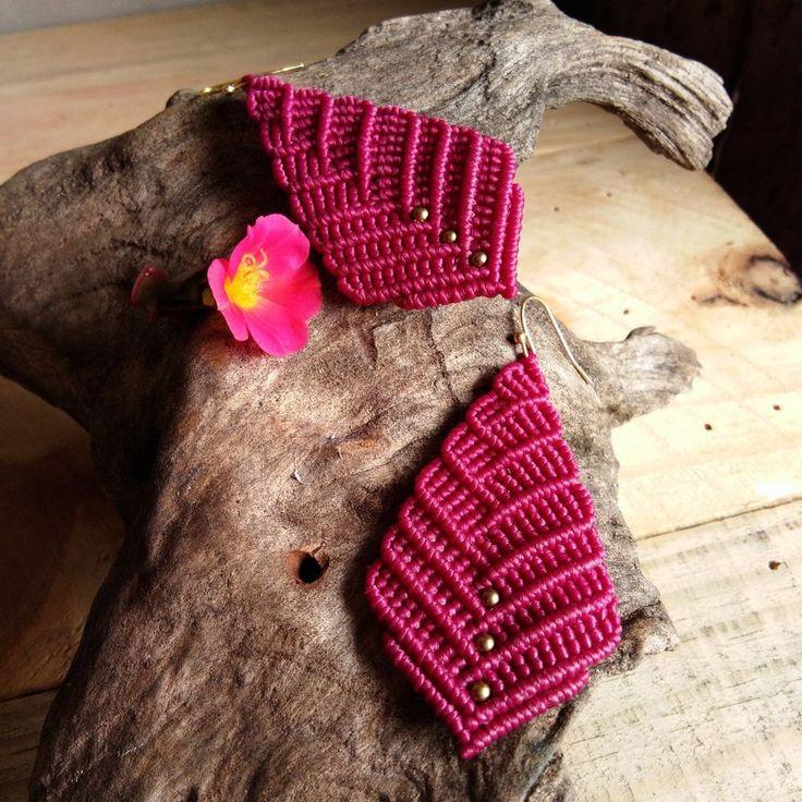 Macrame Earrings Brass Beads Cotton Waxed Cord Handmade Handcrafted #Wrap