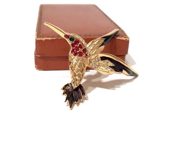 24e5473839e57 Sphinx Rhinestone Hummingbird Brooch Multi Color Pave Stones Purple ...