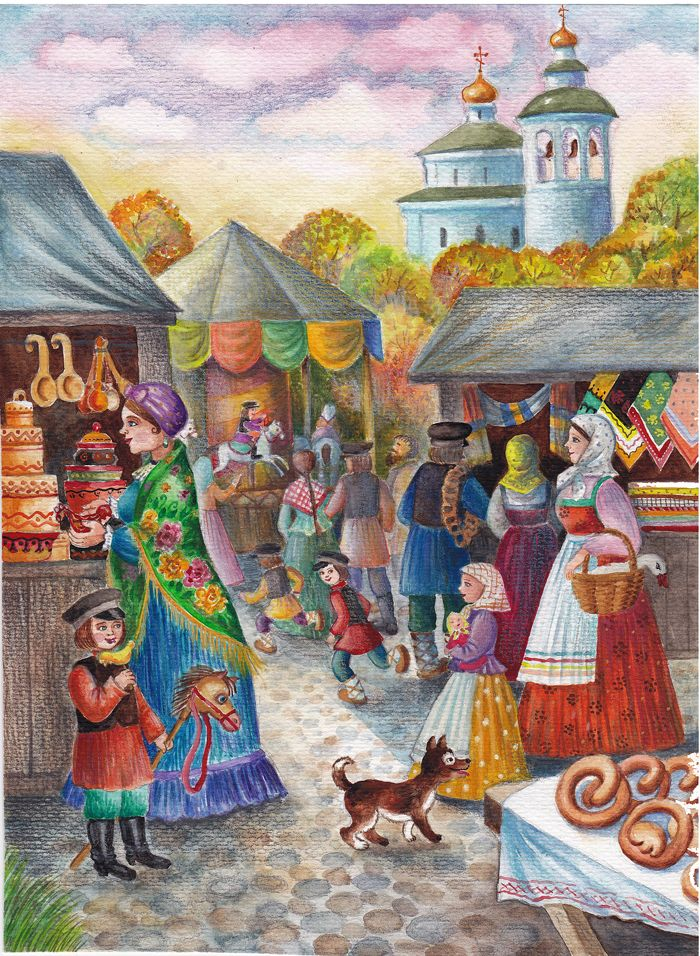 Осенняя ярмарка картинки карандашом