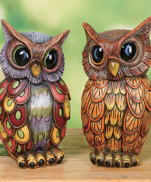 Look what I found on #zulily! Concrete Spring Owl Set by Transpac Imports #zulilyfinds