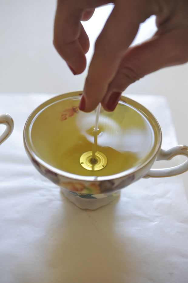 DIY teacup candles.  So easy and fun and make a great gift.  Search your local 2nd hand store for adorable tea cups and add your favorite scents to the melted wax, throw in a candle wic, and violla!