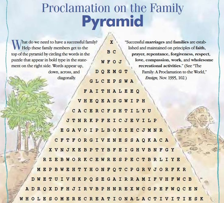 LDS Games - Word Search - Proclamation on the Family
